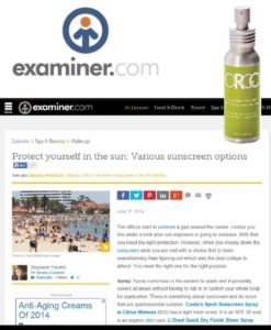 Examiner.com, June 2014 - Online article featuring ORGO Completely Weightless Sunscreen