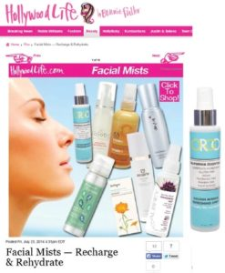 Hollywood Life, July 2014 - Online article featuring ORGO Golden Mineral Refreshing Spray