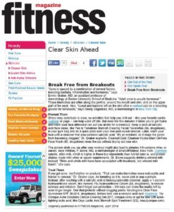 Fitness Magazine Online, April 2014 - Online article featuring ORGO Lactic Acid Blemish Spot Treatment