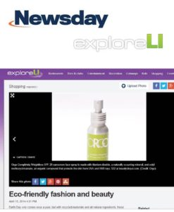 Newsday, April 2014 - Online article featuring ORGO Completely Weightless Sunscreen